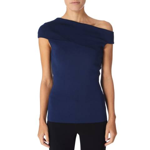 Reiss Indigo Knitted Bardot Top