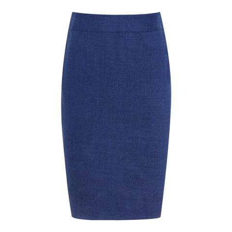 Reiss Blue Malani Textured Skirt