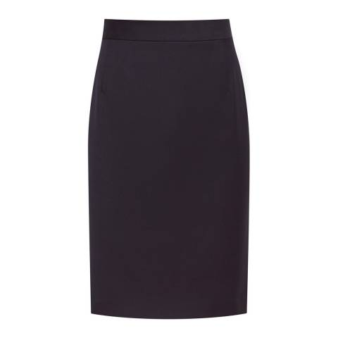 Reiss Navy Fenton Textued Skirt