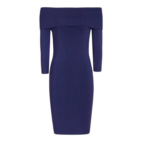 Reiss Bright Navy Madeline Knit Dress