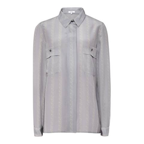 Reiss Grey Devon Strike Silk Blouse