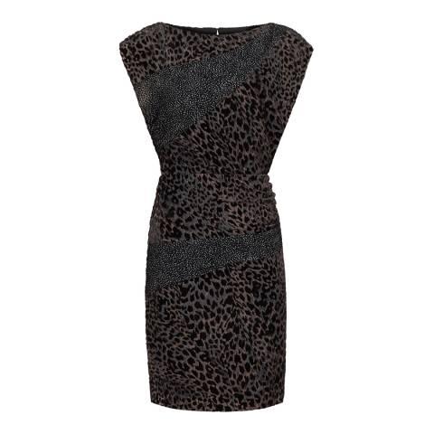 Reiss Black/Grey Lulan Burnout Dress