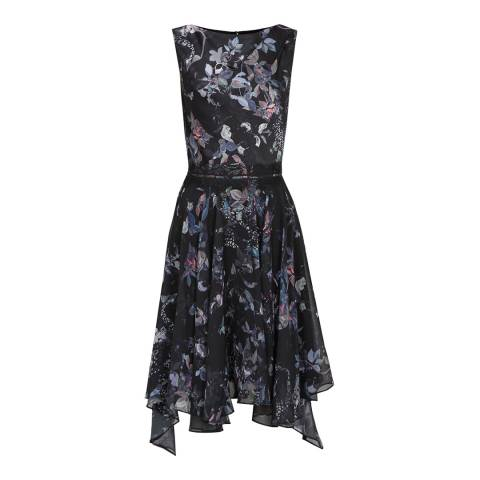 Reiss Multi Peony Draped Dress
