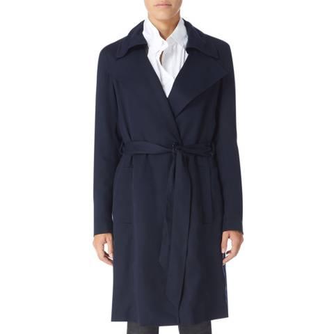 Reiss Navy Radzi Cotton Trench Coat