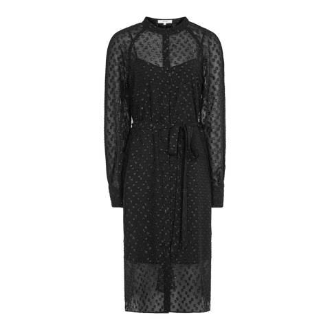Reiss Black Allura Metallic Dress