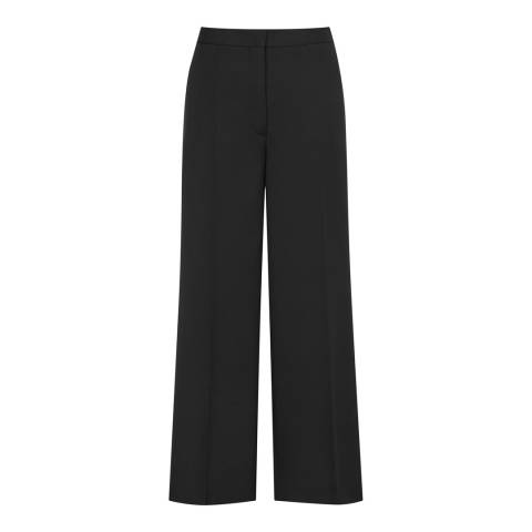 Reiss Black Huxley Cropped Wide Trousers