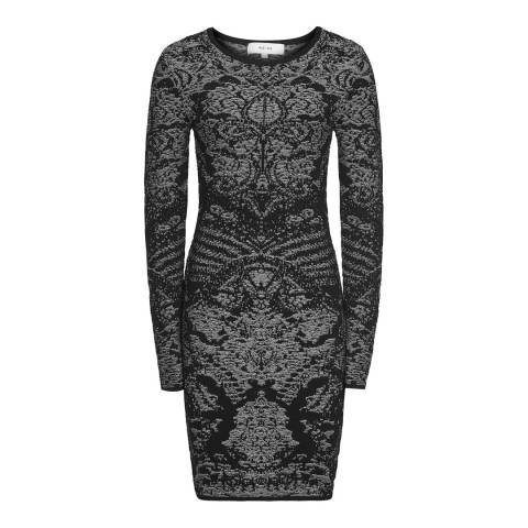 Reiss Black Franky Jacquard Bodycon Dress