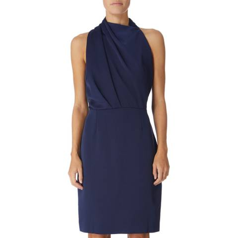 Reiss Navy Rana Halter Dress