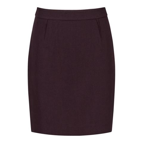 Reiss Grape Camila Tailored Wool Skirt