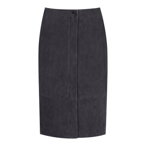 Reiss Navy Bea Suede Leather Skirt