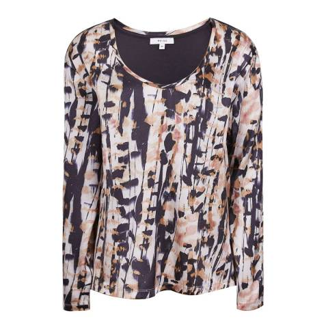 Reiss Multi Helena Wrap Silk Stretch Top