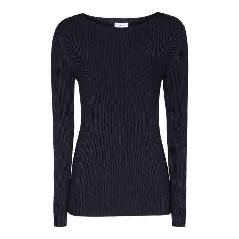 Reiss Night Navy Ribbed Top