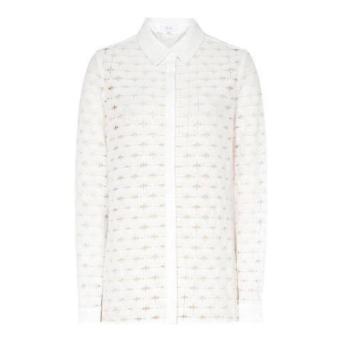 Reiss Off White Simonetta Lace Blouse