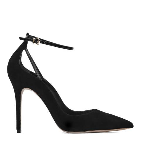 Reiss Black Leighton Suede Ankle Strap Heel