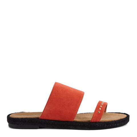 Reiss Sunset Orange Lucie Studded Espadrille Sandal