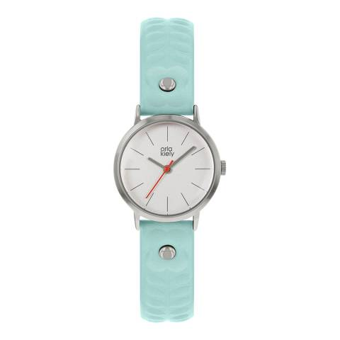 Orla Kiely Baby Blue Patricia Stainless Steel/Leather Analogue Watch