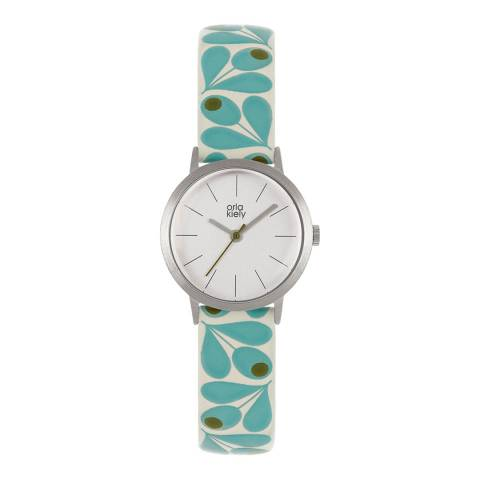 Orla Kiely Blue Patricia Stainless Steel/Leather Analogue Watch