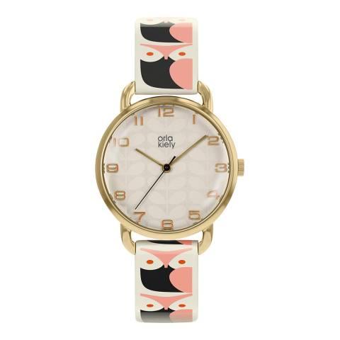 Orla Kiely Pink Dial Stem Print Leather Strap Patricia Watch