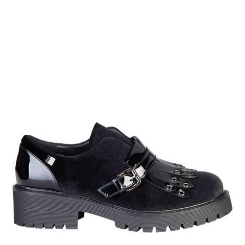 Laura Biagiotti Black Velvet Block Heel Shoe