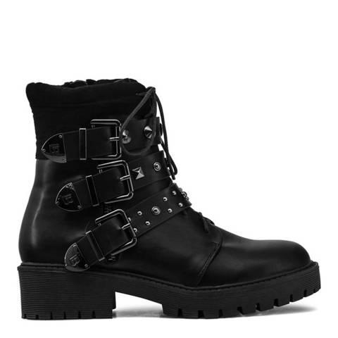 Laura Biagiotti Black Biker Ankle Boot