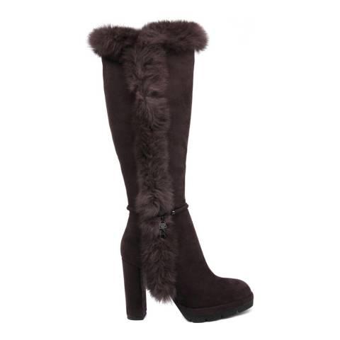 Laura Biagiotti Brown Faux Fur Trim Boot