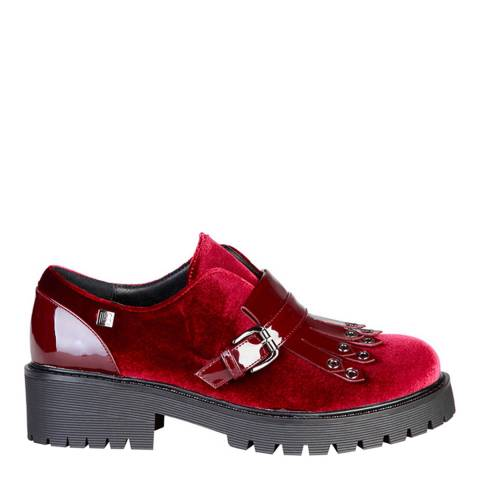 Laura Biagiotti Red Velvet Block Heel Shoe