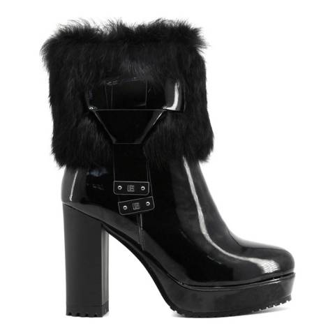 Laura Biagiotti Black Fluffy Patent Ankle Boot