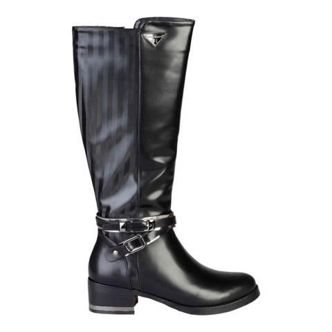 Laura Biagiotti Black Knee High Buckle Boot