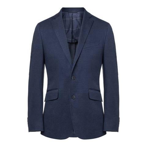 Hackett London Blue Textured Knit Suit Jacket