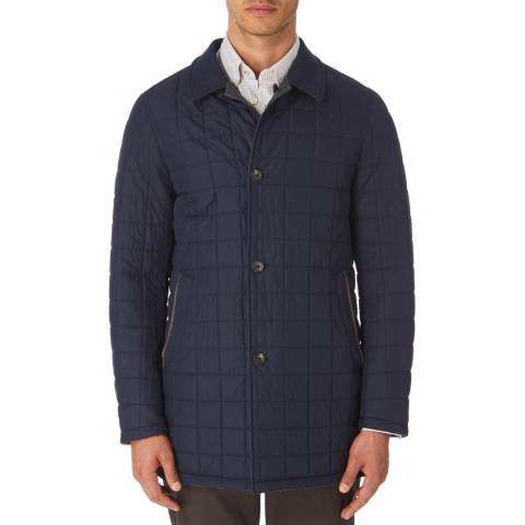 Hackett London Navy/Multi Reversible Quilted Mac