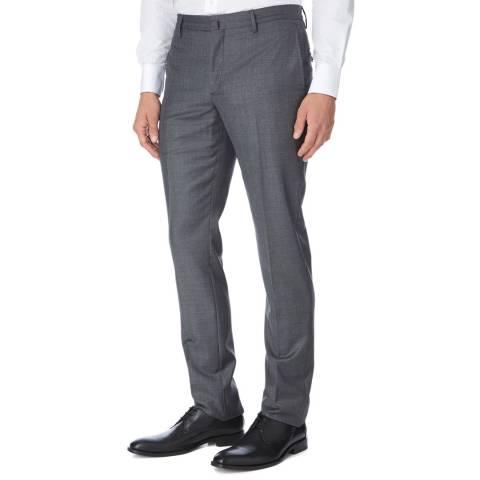 Hackett London Grey Sharkskin Slim Wool Suit Trousers