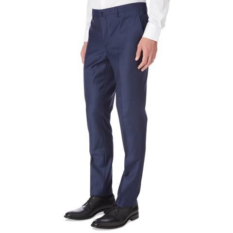 Hackett London Blue Sharkskin Slim Wool Suit Trousers