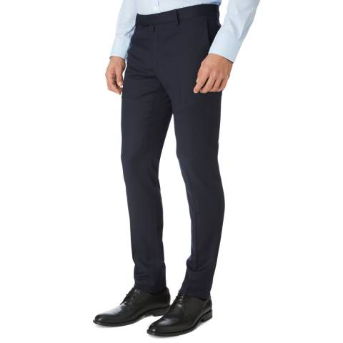 Hackett London Navy Mayfair Wool Trousers
