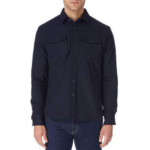 Hackett London Navy Padded Cotton Over Shirt