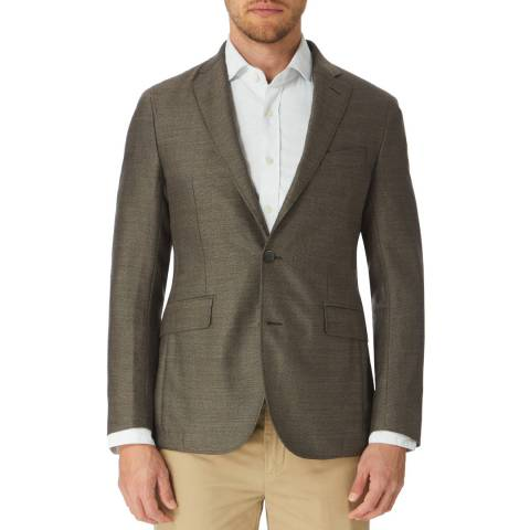 Hackett London Beige Basketweave Wool Suit Jacket