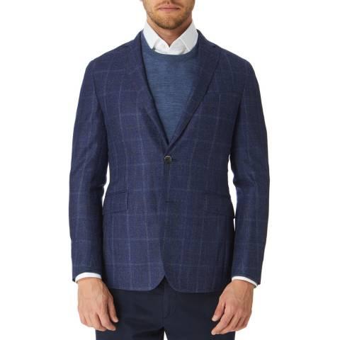 Hackett London Blue Check Light Wool Suit Jacket