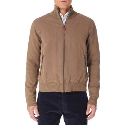 Hackett London Walnut Westbourne Blouson Cotton Blend Jacket
