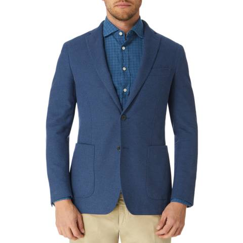 Hackett London Blue Birdseye Cotton Suit Jacket