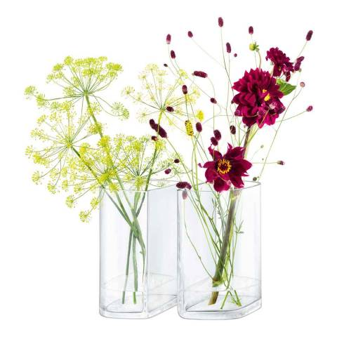 LSA Set of 2 Clear Echo Vases, 24cm