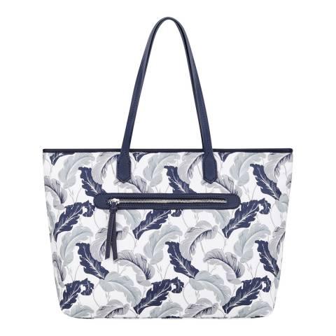 Fiorelli White Linear Leaf Talia Printed Canvas Bag