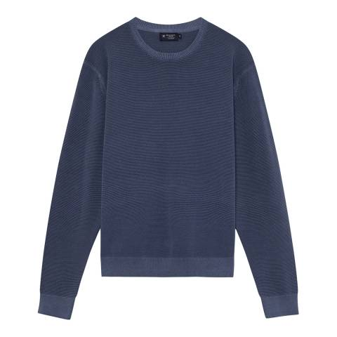 Hackett London Navy Textured Cotton Jumper