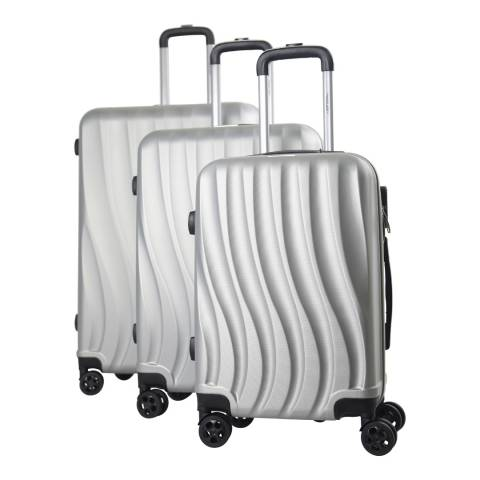 Travel One Silver 8 Wheel Dallington Suitcase Set of 3 Set of 3
