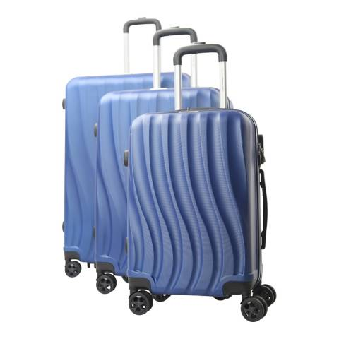 Travel One Navy 8 Wheel Dallington Suitcase S/M/L Set of 3