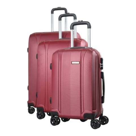 Travel One Burgundy 8 Wheel Balmoral Suitcase S/M/L Set of 3