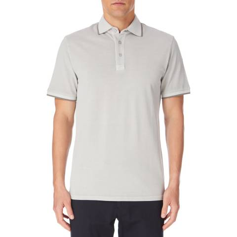Reiss Grey Larry Tipped Cotton Polo Shirt