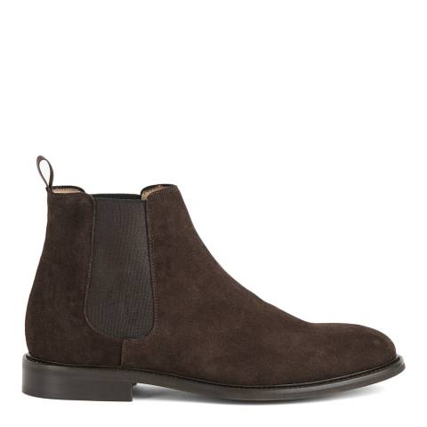 Reiss Dark Brown Tenor Suede Leather Chelsea Boots