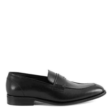 Reiss Black Loris Leather Penny Loafers