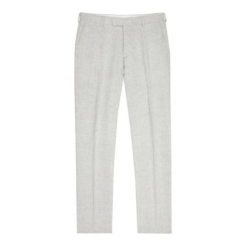 Reiss Grey Linen Antonio Slim Trousers