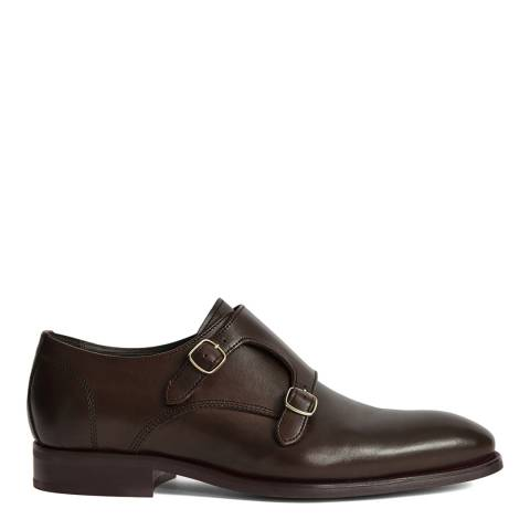 Reiss Brown Lansen Leather Monk Shoes
