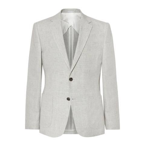 Reiss Grey Linen Antonio Slim Suit Jacket